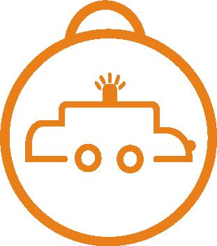 Icon of car flashing light
