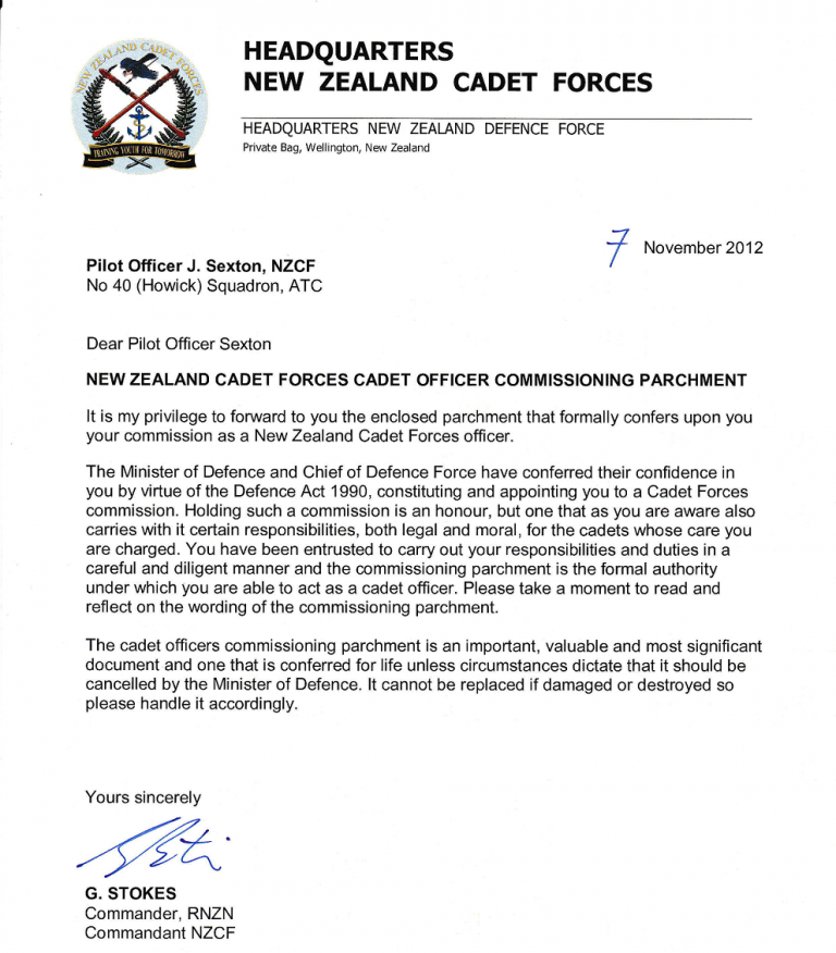 NZ Cadet Forces Commissioning