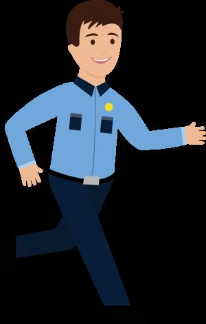Character of guard running