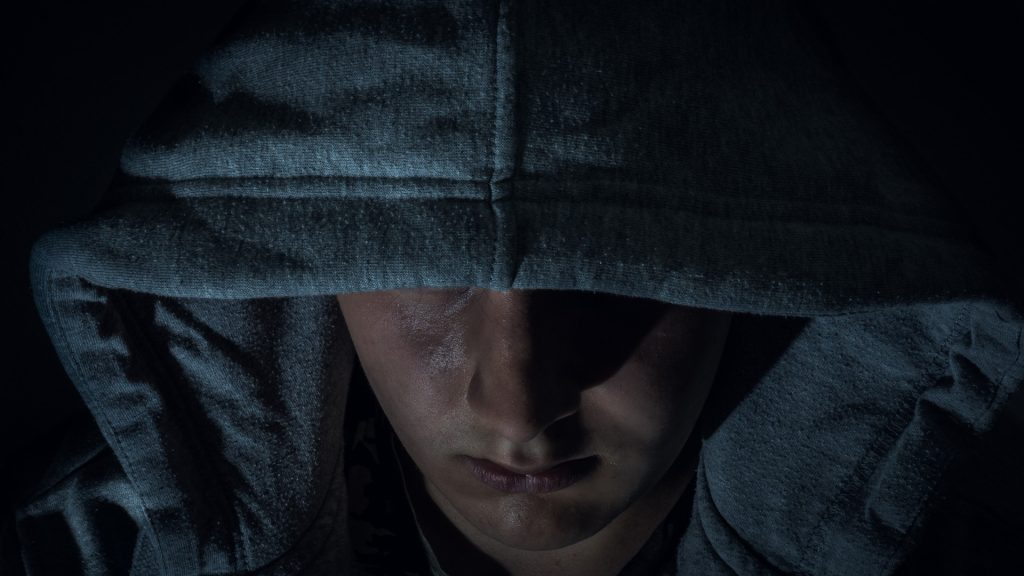 Hacker in Hoodie Closeup